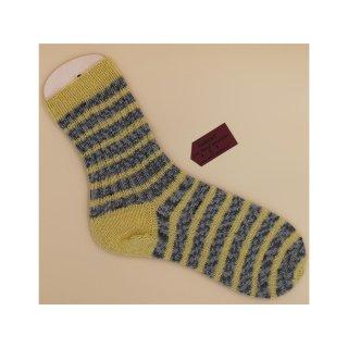 Handgestrickte Socken Gr. 40/41 Stripes grau/gelb
