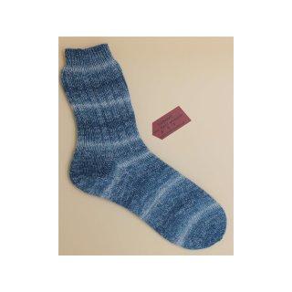Handgestrickte Socken Premium Gr 42/43  mit Seide in blau